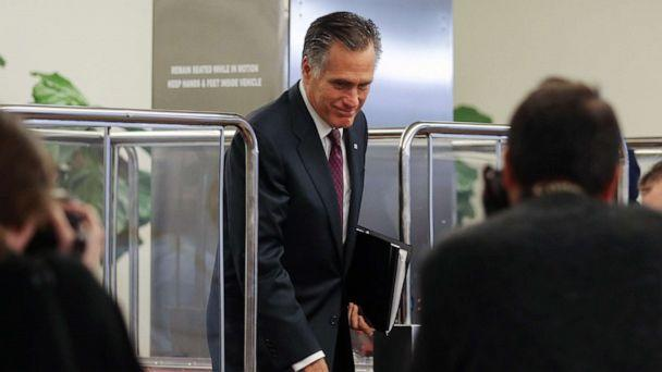 PHOTO: Sen. Mitt Romney departs the Senate subway upon arrival to the Capitol for the Senate impeachment trial on Jan, 28, 2020 in Washington, D.C. (Mario Tama/Getty Images)