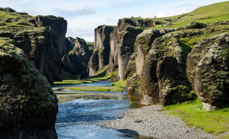 This June 18, 2018 image shows the Fjadrargljufur canyon near the town of Kirkjubaejarklaustur some 250 km east of Iceland's capital Reykjavik. - The popular tourist attraction in South Eastern Iceland has been closed due to severe damage to vegetation. The Environment Agency of Iceland says that the area has been under stress in recent times, which has caused damage to vegetation alongside a trail possibly caused by an increase in travellers to the area. (Photo by Halldor KOLBEINS / AFP)HALLDOR KOLBEINS/AFP/Getty Images ORIG FILE ID: AFP_1EM8KY