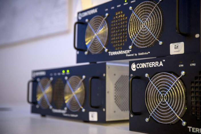 Computers for mining for bitcoins. (Reuters)