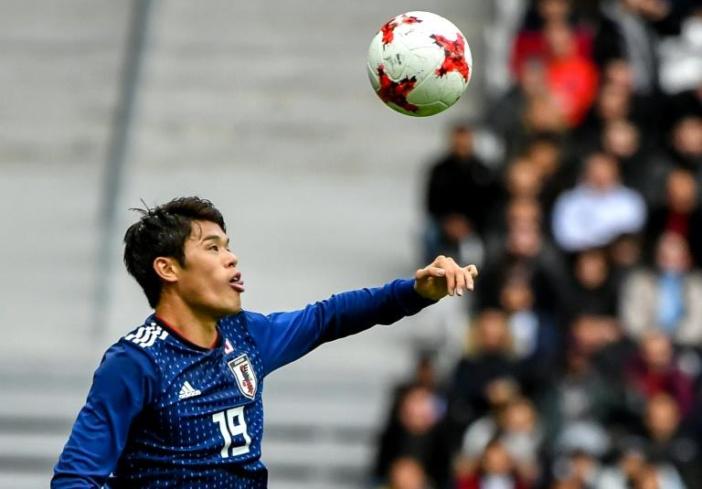 Japan's Sakai Hiroki controls the ball during their match against Brazil in Villeneuve d'Ascq on November 10, 2017