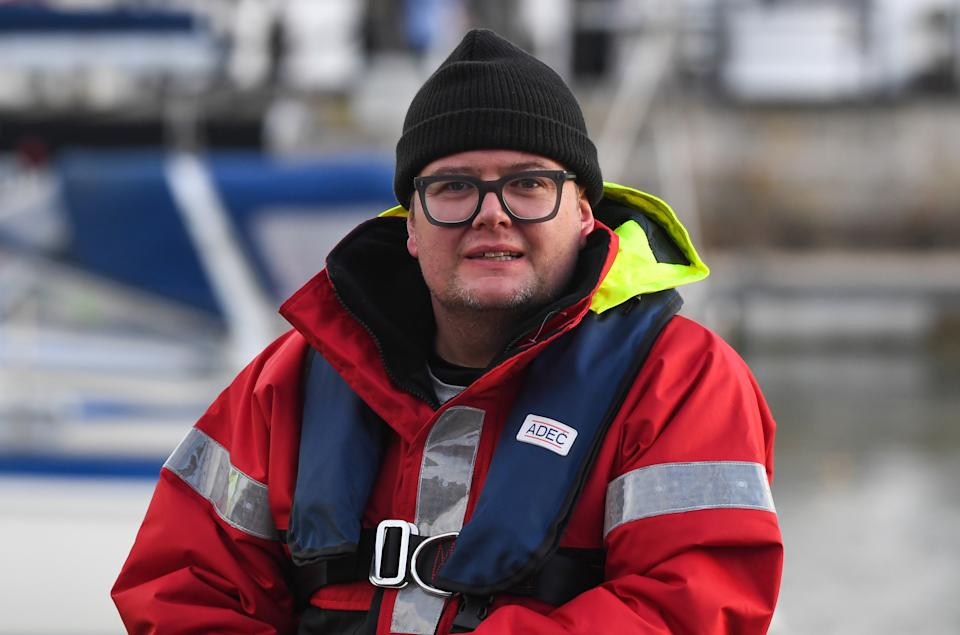 WEYMOUTH, ENGLAND - JANUARY 25: Alan Carr seen during the filming of A league of Their Own at Weymouth Harbour on January 25, 2021 in Weymouth, England. (Photo by Finnbarr Webster/Getty Images)