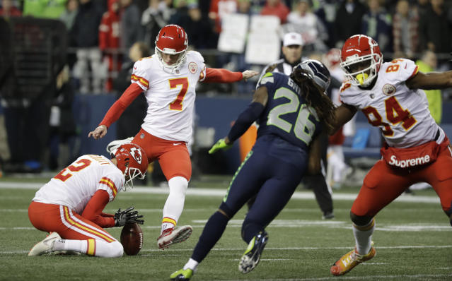 The Kansas City Chiefs and kicker Harrison Butker agreed to a five-year contract extension on Thursday. (AP)