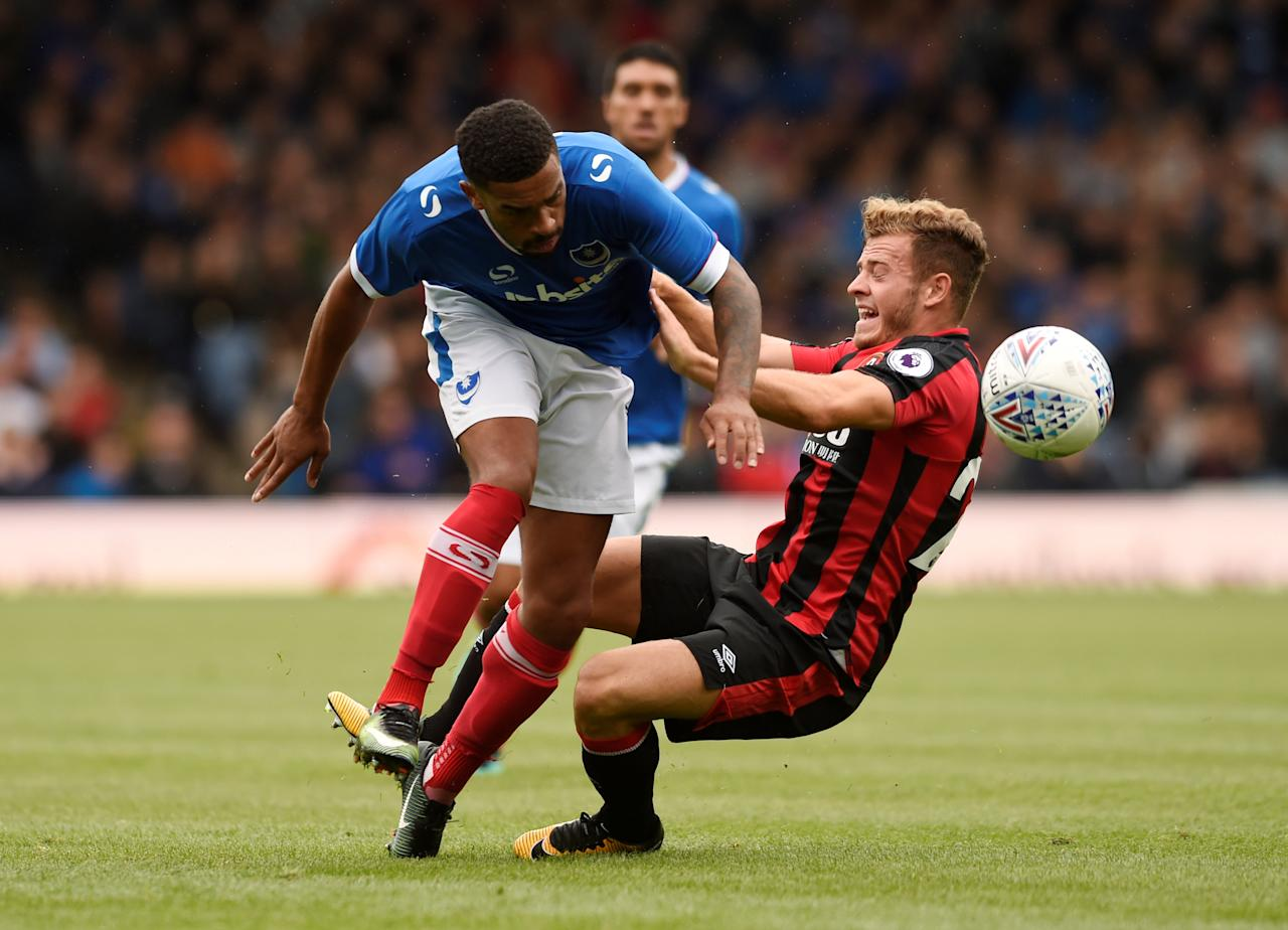 Soccer Football - Portsmouth vs AFC Bournemouth - Pre Season Friendly - June 22, 2017  Bournemouth's Ryan Fraser in action against Portsmouth's Tareiq Holmes-Dennis  Action Images via Reuters/Alan Walter