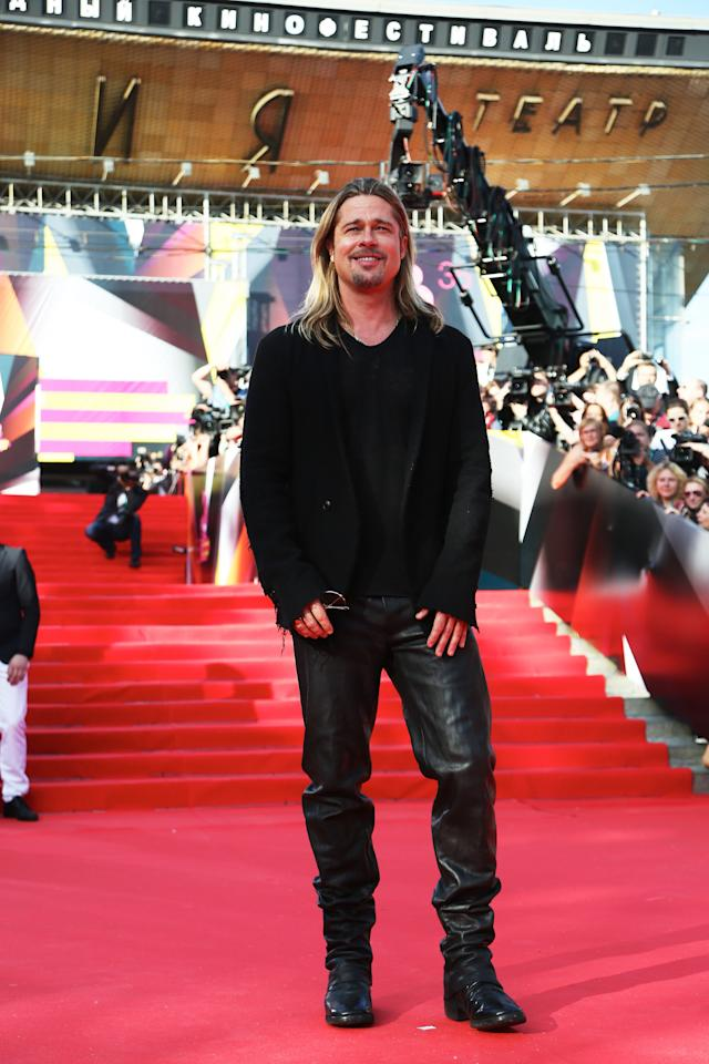 MOSCOW, RUSSIA - JUNE 20: Brat Pitt attends the Moscow International Film Festival on opening night at Pushkinsky Cinema on June 20, 2013 in Moscow, Russia. (Photo by Kristina Nikishina/Getty Images for Artefact)