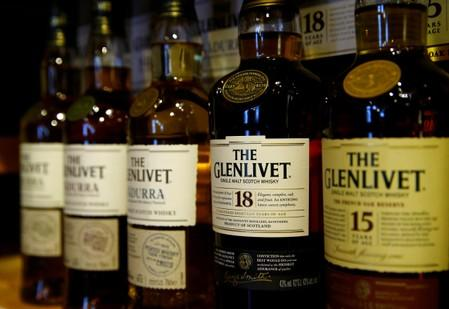 FILE PHOTO: Bottles of single malt scotch whisky The Glenlivet, part of the Pernod Ricard group, are pictured in a shop near Lausanne