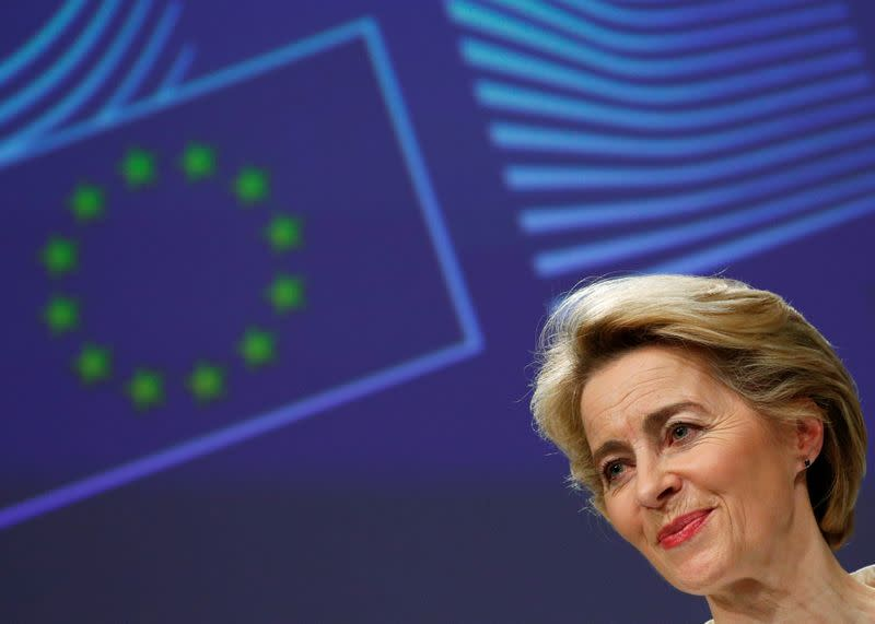FILE PHOTO: European Commission President Ursula von der Leyen briefs the media after the first meeting of her new college of commissioners in Brussels