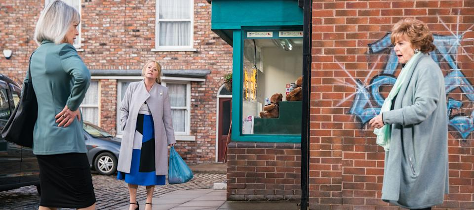 FROM ITV  STRICT EMBARGO - No Use Before Tuesday 15th June 2021  Coronation Street - Ep 1035859  Wednesday 23rd June 2021  Back on the street, Rita Tanner [BARBARA KNOX] welcomes Sharon Bentley [TRACIE BENNETT], explaining to Jenny Connor [SALLY-ANN MATTHEWS] how she did the right thing and her evidence will put Harvey behind bars.   Picture contact David.crook@itv.com   Photographer - Danielle Baguley  This photograph is (C) ITV Plc and can only be reproduced for editorial purposes directly in connection with the programme or event mentioned above, or ITV plc. Once made available by ITV plc Picture Desk, this photograph can be reproduced once only up until the transmission [TX] date and no reproduction fee will be charged. Any subsequent usage may incur a fee. This photograph must not be manipulated [excluding basic cropping] in a manner which alters the visual appearance of the person photographed deemed detrimental or inappropriate by ITV plc Picture Desk. This photograph must not be syndicated to any other company, publication or website, or permanently archived, without the express written permission of ITV Picture Desk. Full Terms and conditions are available on  www.itv.com/presscentre/itvpictures/terms