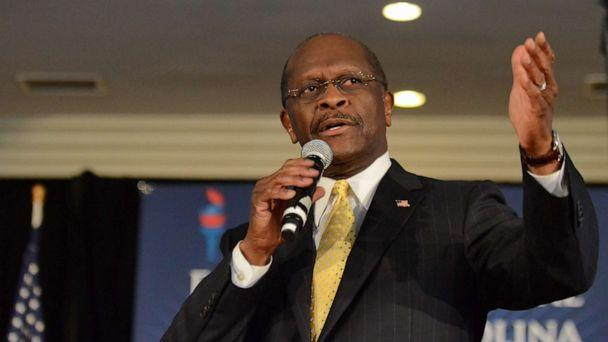 PHOTO: In this Dec. 2, 2011, file photo, Republican presidential candidate Herman Cain speaks to supporters at The Magnolia Room at Laurel Creek, in Rock Hill, S.C. (Richard Shiro/AP, FILE)