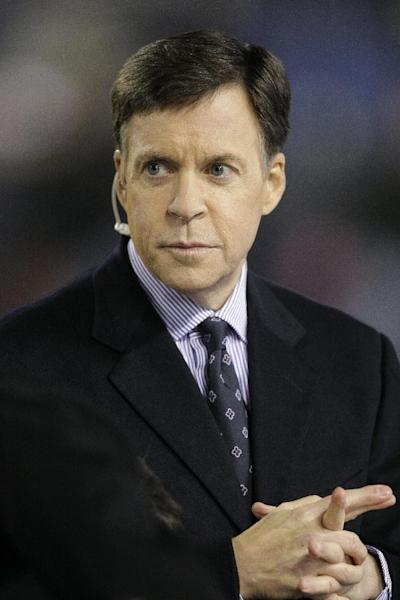 FILE- In this Nov. 22, 2009, file photo, Sportscaster Bob Costas is seen before an NFL football game between the Chicago Bears and Philadelphia Eagles in Chicago. Costas noted a controversy over honoring Israeli athletes killed at the Olympics 40 years ago during his coverage of the opening ceremony a the London Olympics, but stopped short of offering his own protest. (AP Photo/Charles Rex Arbogast, File)