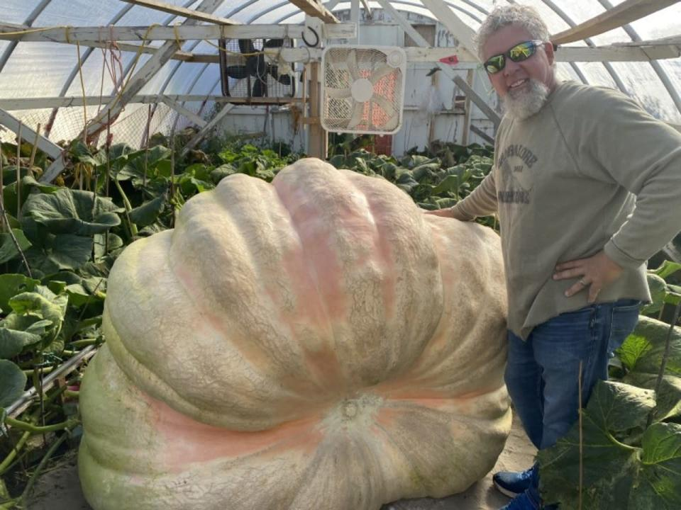 This might be the heaviest pumpkin ever grown in Canada