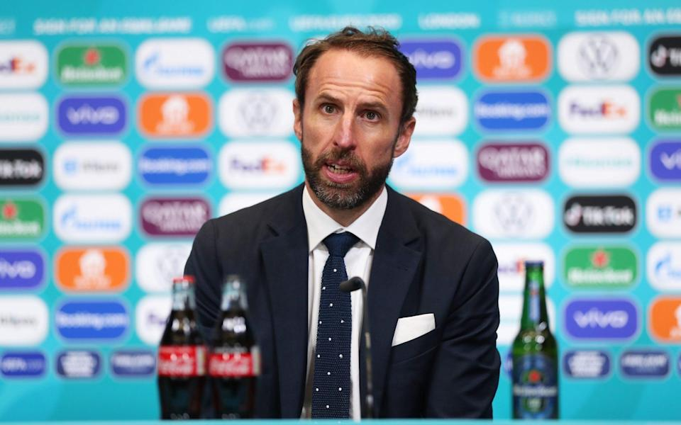 In this handout picture provided by UEFA, Gareth Southgate, Head Coach of England speaks to the media during the England Press Conference after UEFA Euro 2020 Championship Final between Italy and England at Wembley Stadium on July 11, 2021 in London, England - UEFA/UEFA via Getty Images