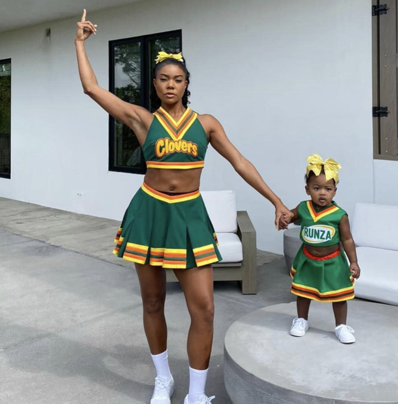 """Gabrielle Union and her baby girl, Kaavia, played cheerleaders from """"Bring It On."""" (Photo: Instagram)"""