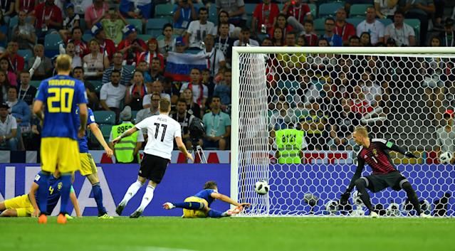 Soccer Football - World Cup - Group F - Germany vs Sweden - Fisht Stadium, Sochi, Russia - June 23, 2018 Germany's Marco Reus scores their first goal REUTERS/Dylan Martinez