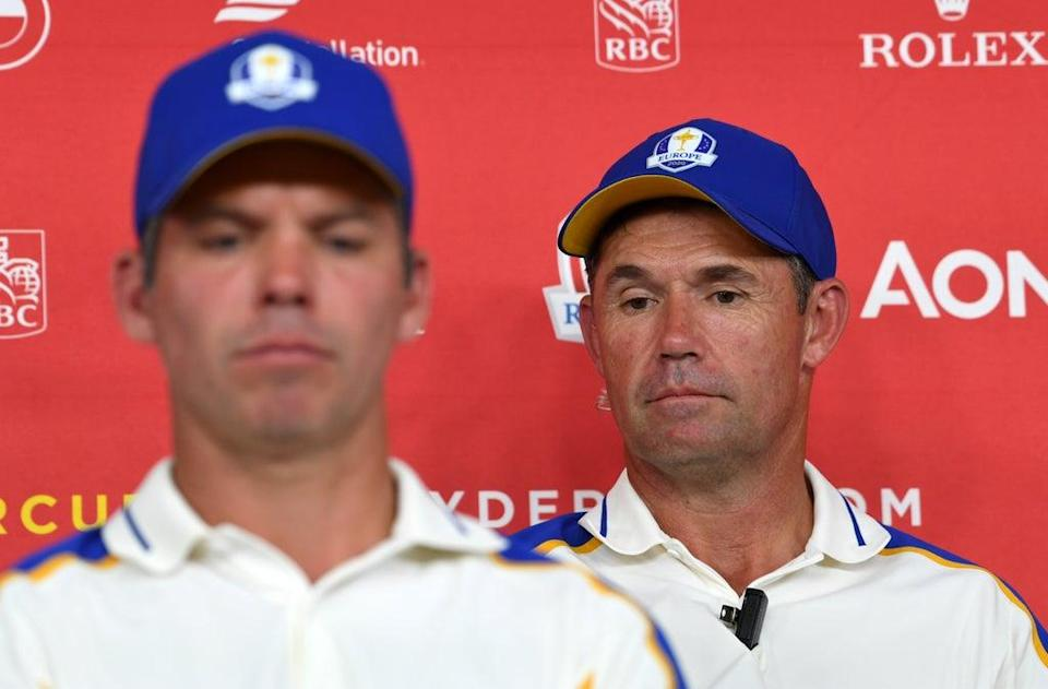 Team Europe captain Padraig Harrington, at right alongside Paul Casey, during a press conference after their heavy defeat to Team USA (Anthony Behar/PA) (PA Wire)