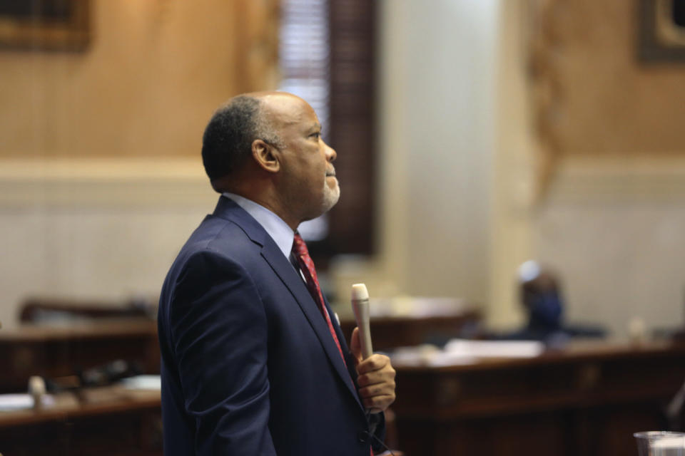 South Carolina Sen. Karl Allen, D-Greenville, waits to ask a question about a bill that would add the firing squad to the electric chair and lethal injection as execution methods in the state on Tuesday, March 2, 2021, in Columbia, S.C. The state hasn't had the chemicals to do lethal injection for years. (AP Photo/Jeffrey Collins)