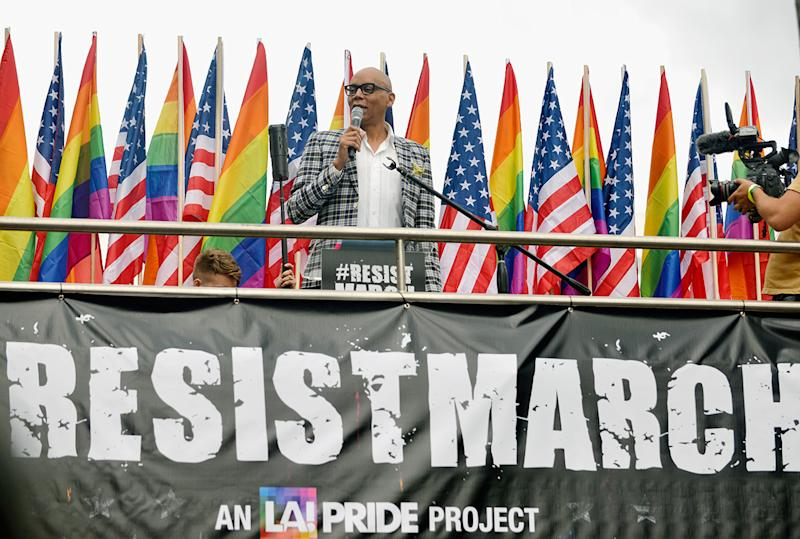 WEST HOLLYWOOD, CA - JUNE 11: RuPaul speaks at the LA Pride ResistMarch on June 11, 2017 in West Hollywood, California. (Photo by Chelsea Guglielmino/Getty Images)