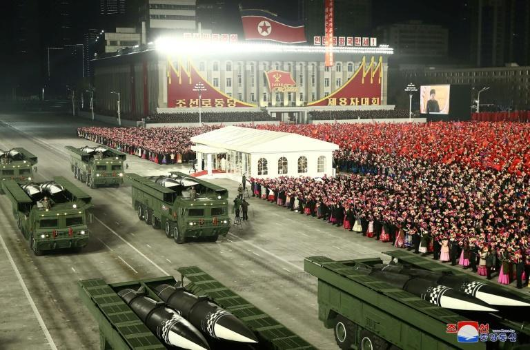 Missiles similar to those tested are displayed during a January 2021 military parade marking the 8th Congress of the Workers' Party of Korea in Pyongyang