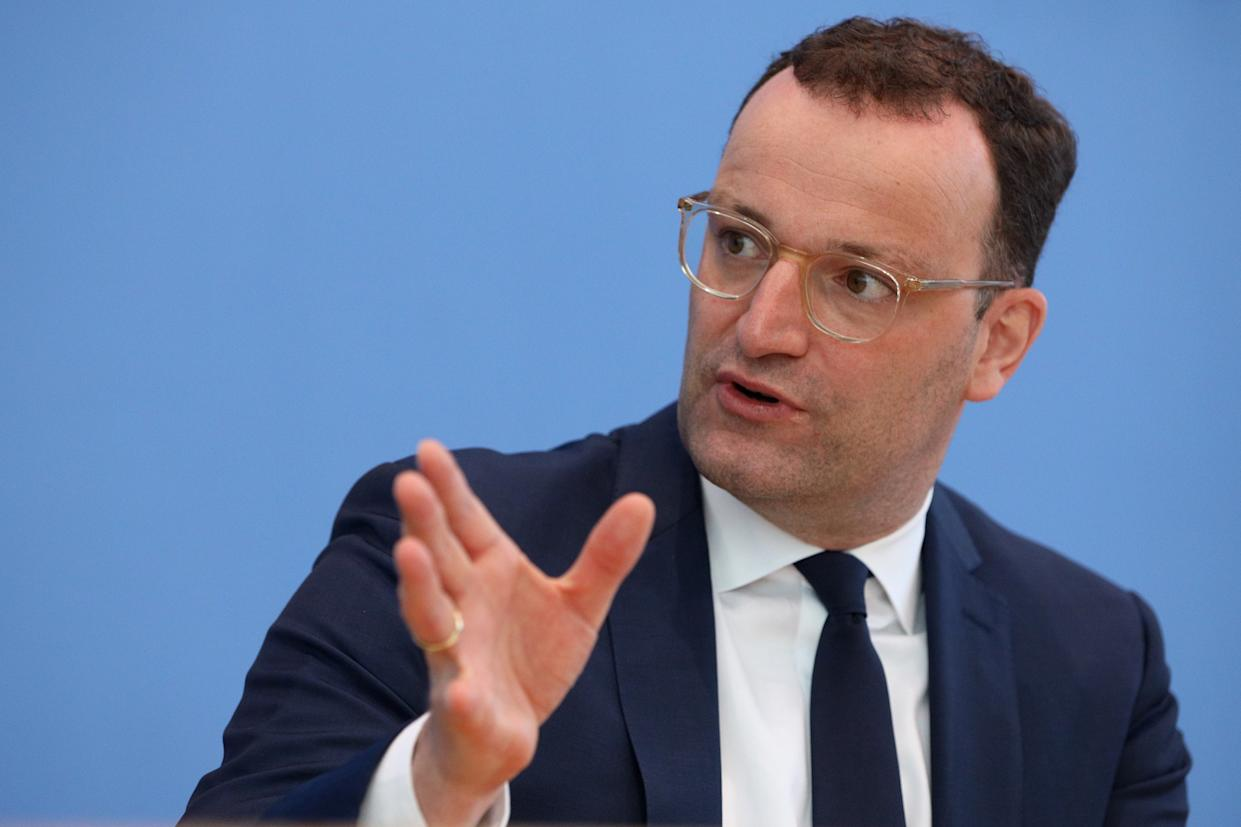 BERLIN, GERMANY - MAY 21: German Health Minister Jens Spahn speaks to the media in a weekly update during the coronavirus pandemic on May 21, 2021 in Berlin, Germany. (Photo by Christian Marquardt - Pool / Getty Images)