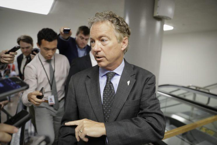 Sen. Rand Paul, R-Ky., a vocal opponent of the Senate Republican health care bill, speaks with reporters on his way to a vote on Capitol Hill in Washington, D.C., on July 12, 2017. (Photo: J. Scott Applewhite/AP)