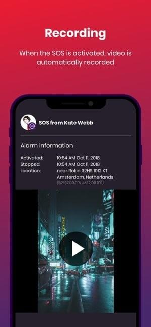 Screenshot of bSafe app showing a still shot of a video and explaining the recording feature