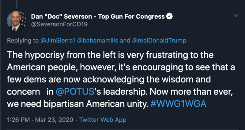 Dan Severson uses the QAnon slogan in this tweet praising President Trump