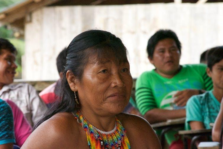 Older woman of the Embera tribe in Choco Colombia.