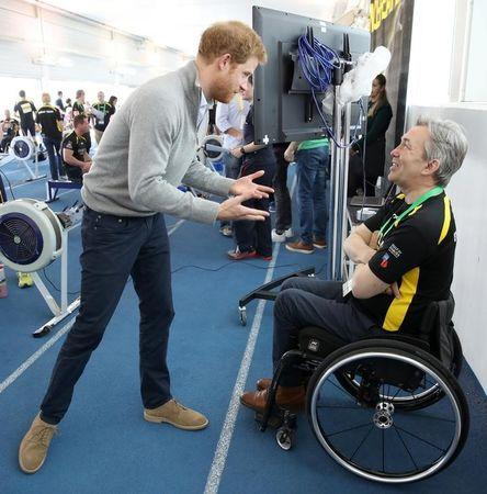 Britain's Prince Harry Patron of the Invictus Games Foundation, speaks to a competitor as he attends the UK team trials for the Invictus Games Toronto 2017 held at the University of Bath, Britain April 7, 2017. REUTERS/Chris Jackson/Pool