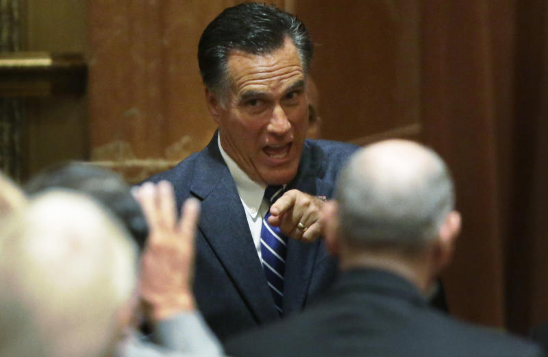 Republican presidential candidate and former Massachusetts Gov. Mitt Romney acknowledges donors after he spoke at a campaign fundraising event in Del Mar, Calif., Saturday, Sept. 22, 2012. (AP Photo/Charles Dharapak)