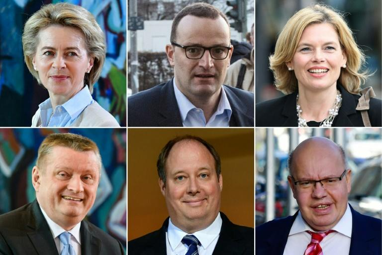 The CDU party members tipped to become ministers in Merkel's government, from top left to bottom right: Ursula von der Leyen, Jens Spahn, Julia Kloeckner, Hermann Groehe, Helge Braun and Peter Altmaier