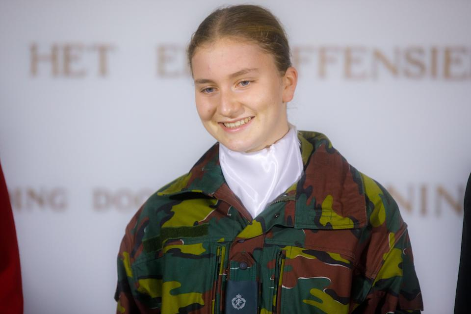 BRUSSELS, BELGIUM - OCTOBER 08: Princess Elisabeth of Belgium poses for an official photograph at the Royal Military School on October 08, 2020 in Brussels, Belgium. Princess Elisabeth of Belgium participated at the inauguration ceremony of the new academic year of the Royal Military School at the Esplanade of the Cinquantenaire. (Photo by Olivier Matthys/Getty Images)