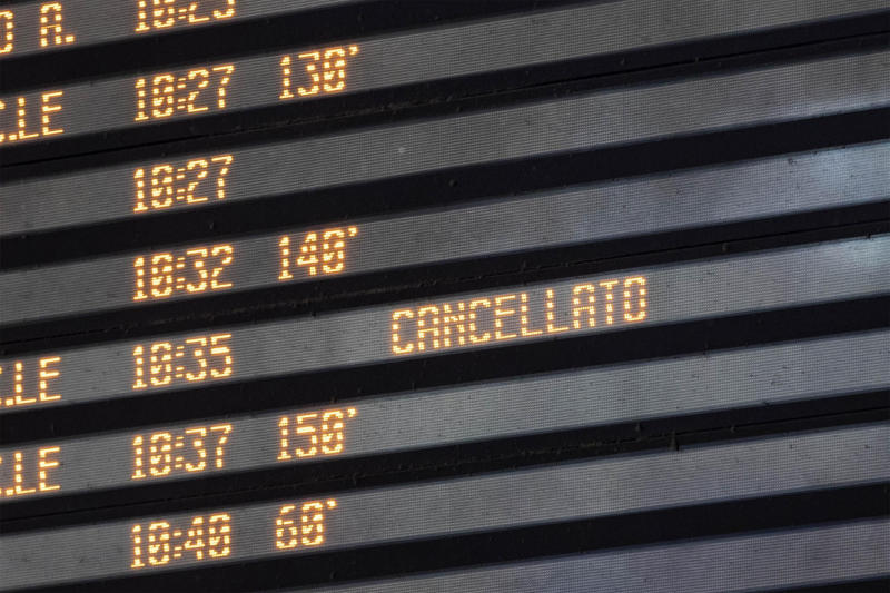 A display board shows delayed and canceled trains at Termini station in Rome, Monday, July 22, 2019. A suspected arson fire has forced cancellations of at least 42 high-speed trains in Italy on the heavily-traveled Milan-Naples corridor. (Massimo Percossi/ANSA via AP)