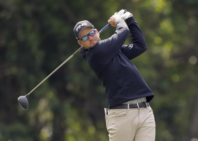 Corey Conners tees off on the 11th hole during the first round of the Valspar Championship golf tournament Thursday, March 8, 2018, in Palm Harbor, Fla. (AP Photo/Mike Carlson)