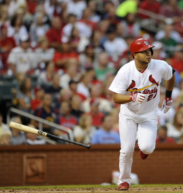 St. Louis Cardinals' Jhonny Peralta (27) watches his two-run double against the Boston Red Sox in the first inning in a baseball game, Thursday, August 7, 2014, at Busch Stadium in St. Louis. (AP Photo/Bill Boyce)