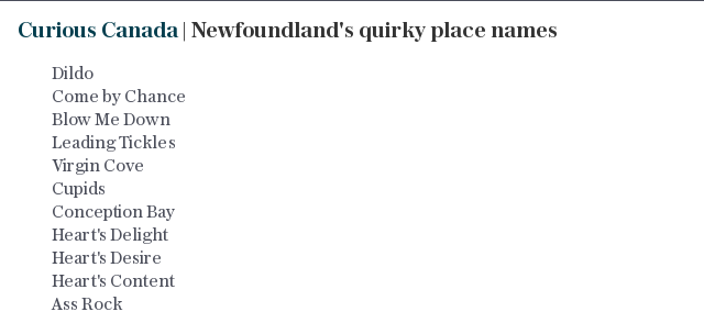 Curious Canada | Newfoundland's quirky place names