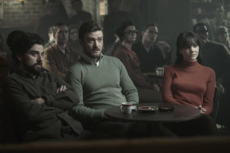 """This film image released by CBS FIlms shows , from left, Oscar Isaac , Justin Timberlake and Carey Mulligan in a scene from """"Inside Llewyn Davis."""" (AP Photo/CBS FIlms, Alison Rosa)"""