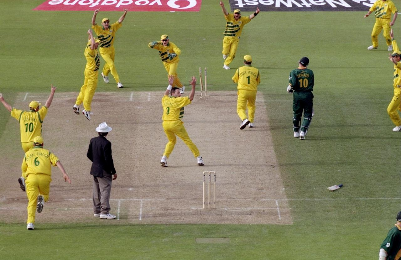 17 Jun 1999:  Allan Donald of South Africa is run out and Australia go through to the World Cup final after a dramatic semi-final at Edgbaston in Birmingham, England. The match finished a tie and Australia went through after finishing higher in the SuperSix table. \ Mandatory Credit: Ross Kinnaird /Allsport