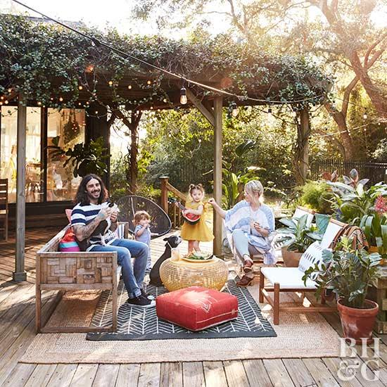 family in outdoor seating area