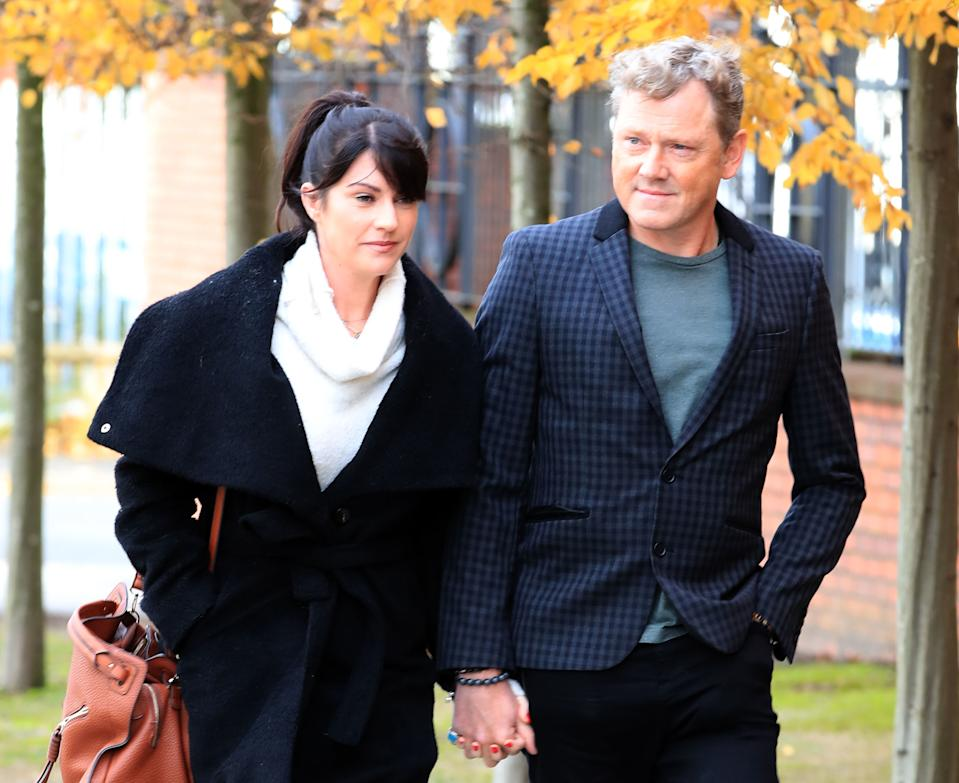 RETRANSMISSION ADDING ADDITIONAL NAME TO CAPTION Emmerdale actors Mark Jordon, 53, and Laura Norton arrive at Tameside Magistrates' Court, in Ashton-under-Lyne, where he is charged with grievous bodily harm and assault. (Photo by Peter Byrne/PA Images via Getty Images)