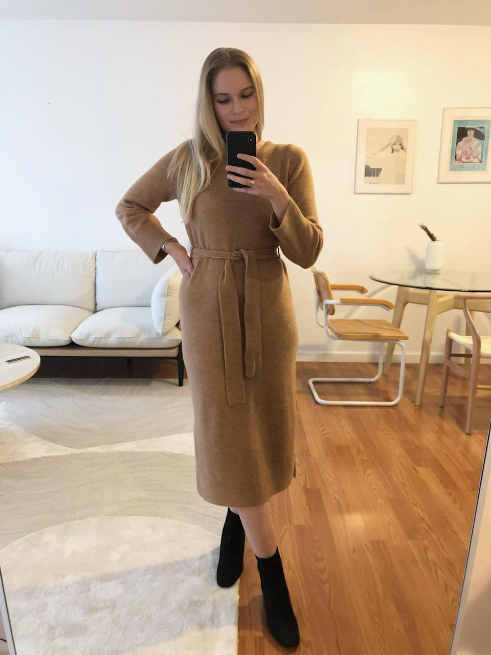 <p>The <span>Banana Republic Flare-Sleeve Sweater Dress</span> ($111, originally $139) is the dressed-up piece I bought for winter, but I love that it's still comfy, too. Here I paired it with booties for a more elevated look.</p>