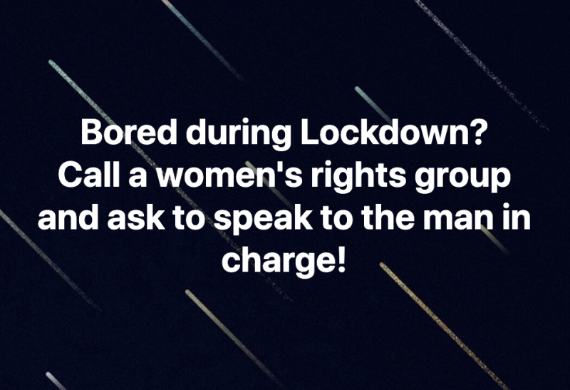 Facebook posts suggest calling women's rights groups as. pranks during the coronavirus lockdown, when domestic violence rates increased. Source: Facebook