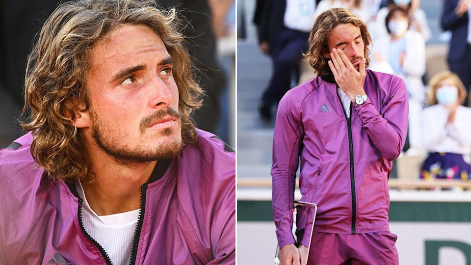 Stefanos Tsitsipas is seen here wiping away tears after losing in the French Open final.