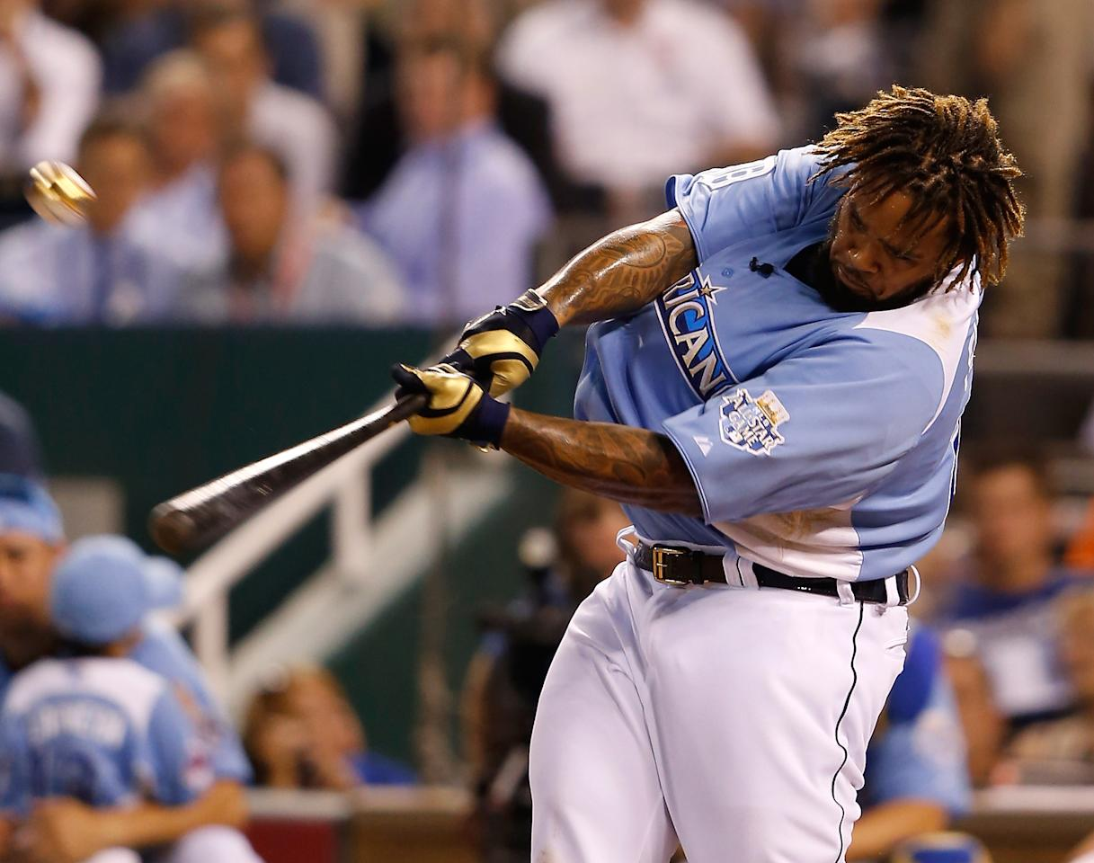 KANSAS CITY, MO - JULY 09:  American League All-Star Prince Fielder #28 of the Detroit Tigers at bat in the final round during the State Farm Home Run Derby at Kauffman Stadium on July 9, 2012 in Kansas City, Missouri.  (Photo by Jamie Squire/Getty Images)