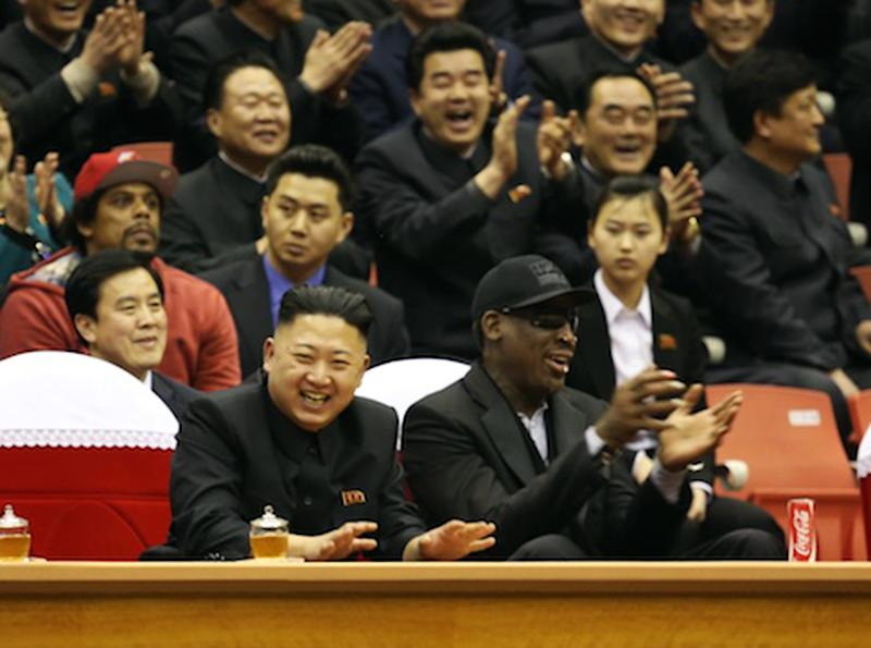 "This undated publicity image released by HBO shows former NBA basketball player Dennis Rodman, right, with North Korea's Kim Jong Un at a basketball game from an episode of the documentary series ""Vice.""  The season final episode will air on on June 14 at 11 p.m. EST on HBO. (AP Photo/Vice.com via HBO)"
