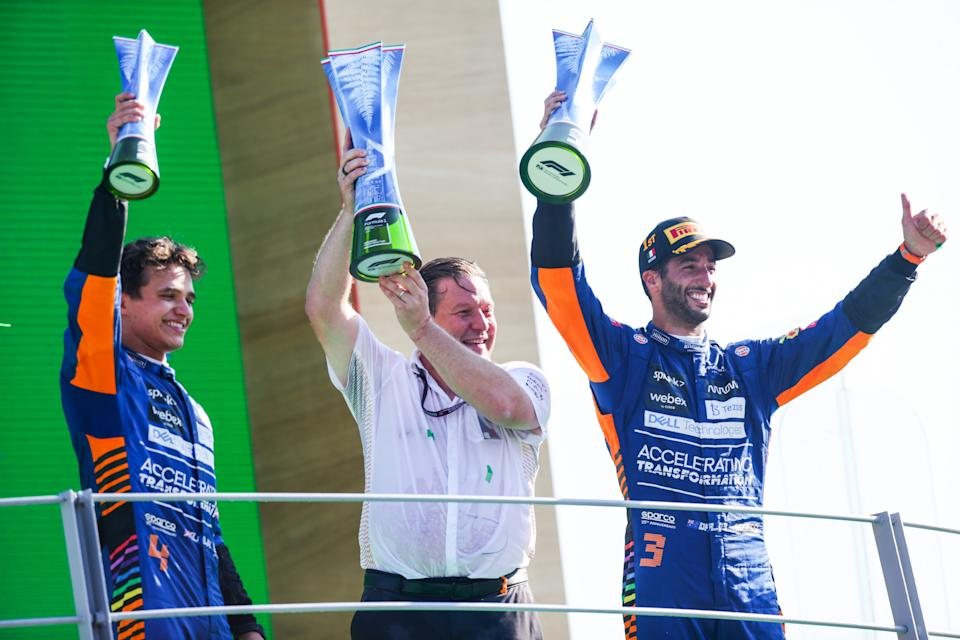 MONZA, ITALY - SEPTEMBER 12: Lando Norris of McLaren and Great Britain, Zac Brown of USA and Mclaren and Daniel Ricciardo of Australia and McLaren during the F1 Grand Prix of Italy at Autodromo di Monza on September 12, 2021 in Monza, Italy. (Photo by Peter Fox/Getty Images)