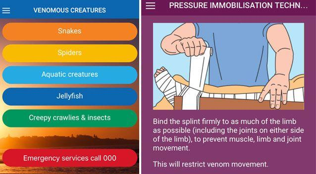 A free smartphone app has been developed to help inform Australians on what to do when bitten or stung by a venomous creature. Photo: Supplied