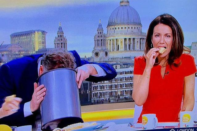 Piers Morgan head in bucket