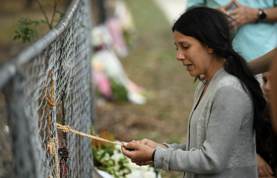 Leila Abdallah at the scene of the crash a day after the fatal accident. Source: AAP