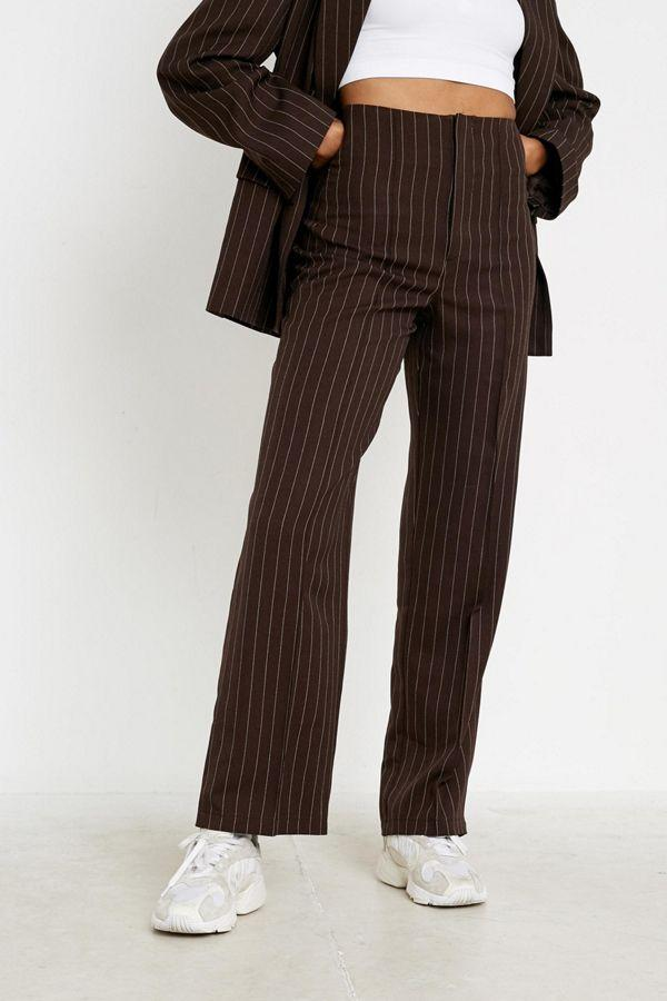 UO pinstripe high-rise puddle pant. (Credit: Urban Outfitters)