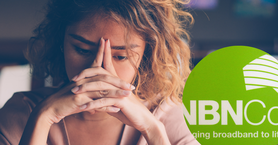 A woman looks concerned with an NBN logo inset
