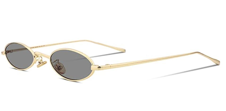 <p>If you love the tiny glasses trend but want to keep it timeless, the <span>FEISEDY Vintage Oval Slender Small Sunglasses</span> ($14) is a great option!</p>